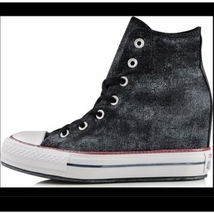 NWT Converse All Star Black Hi Top Wedge Sneakers